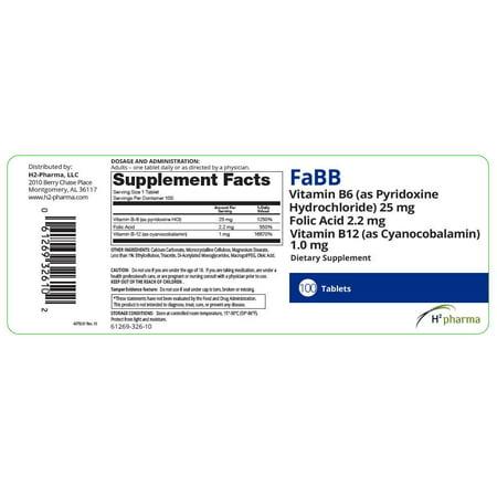 H2 Pharma, Fabb Tablets, 100ct 061269326102F2093