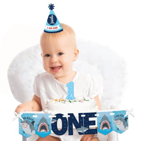 Shark Zone 1st Birthday - First Birthday Boy Smash Cake Decorating Kit - High Chair Decorations (Boys 1st Birthday)