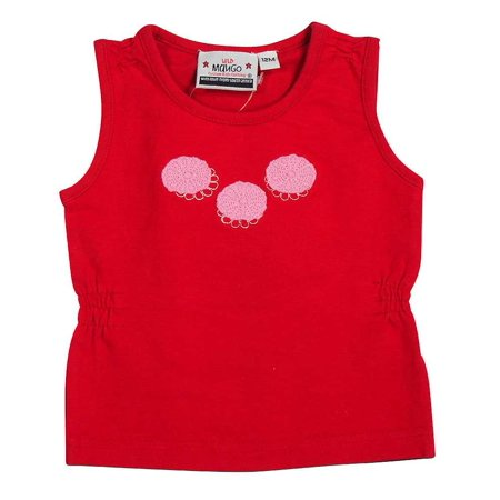 Wild Mango Baby Infant Toddler Girls Sleeveless Cotton Tee Tank T - Shirt Top, 7678 red/pink / 12Months