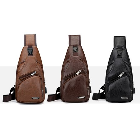 Mens Leather Chest Sling Packs Shoulder Cross Body Bag Packs Satchel Packs Purse (Cross Chest Purse)
