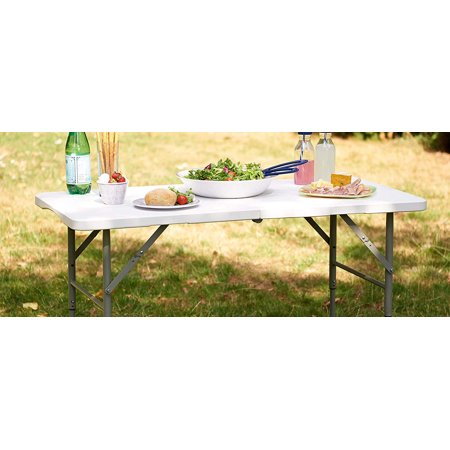 Everyday Essentials Adjustable Height Utility Camping Folding Table, 4 Feet