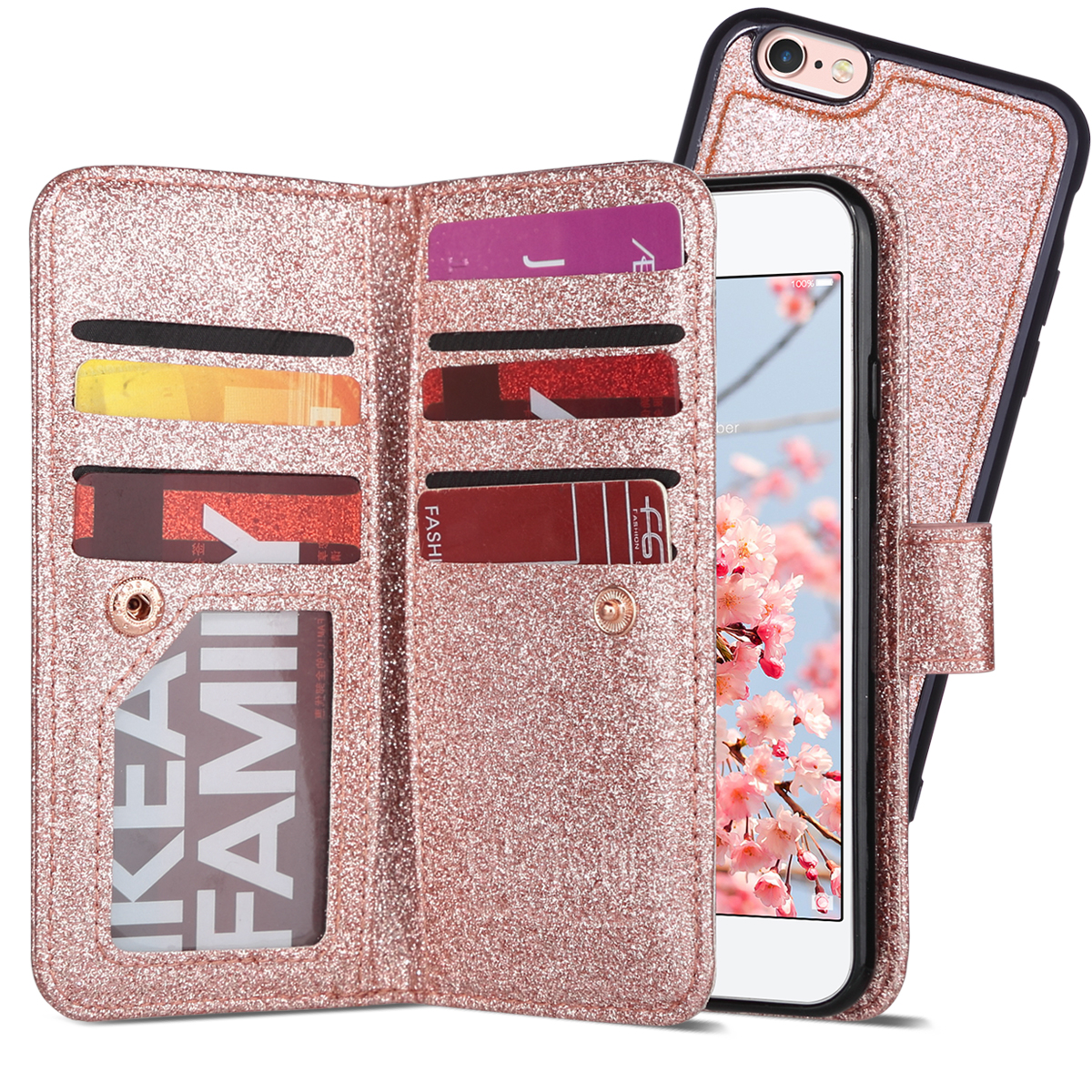 Mint Flora ULAK Flip Wallet Case for iPhone 6S /& 6 with Kickstand Card Holder ID Slot and Hand Strap Shockproof Cover for Women for Apple iPhone 6s//6 4.7