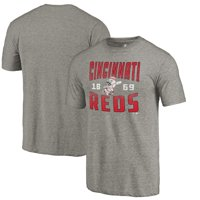 Cincinnati Reds Fanatics Branded Cooperstown Collection Antique Stack Tri-Blend T-Shirt - Gray
