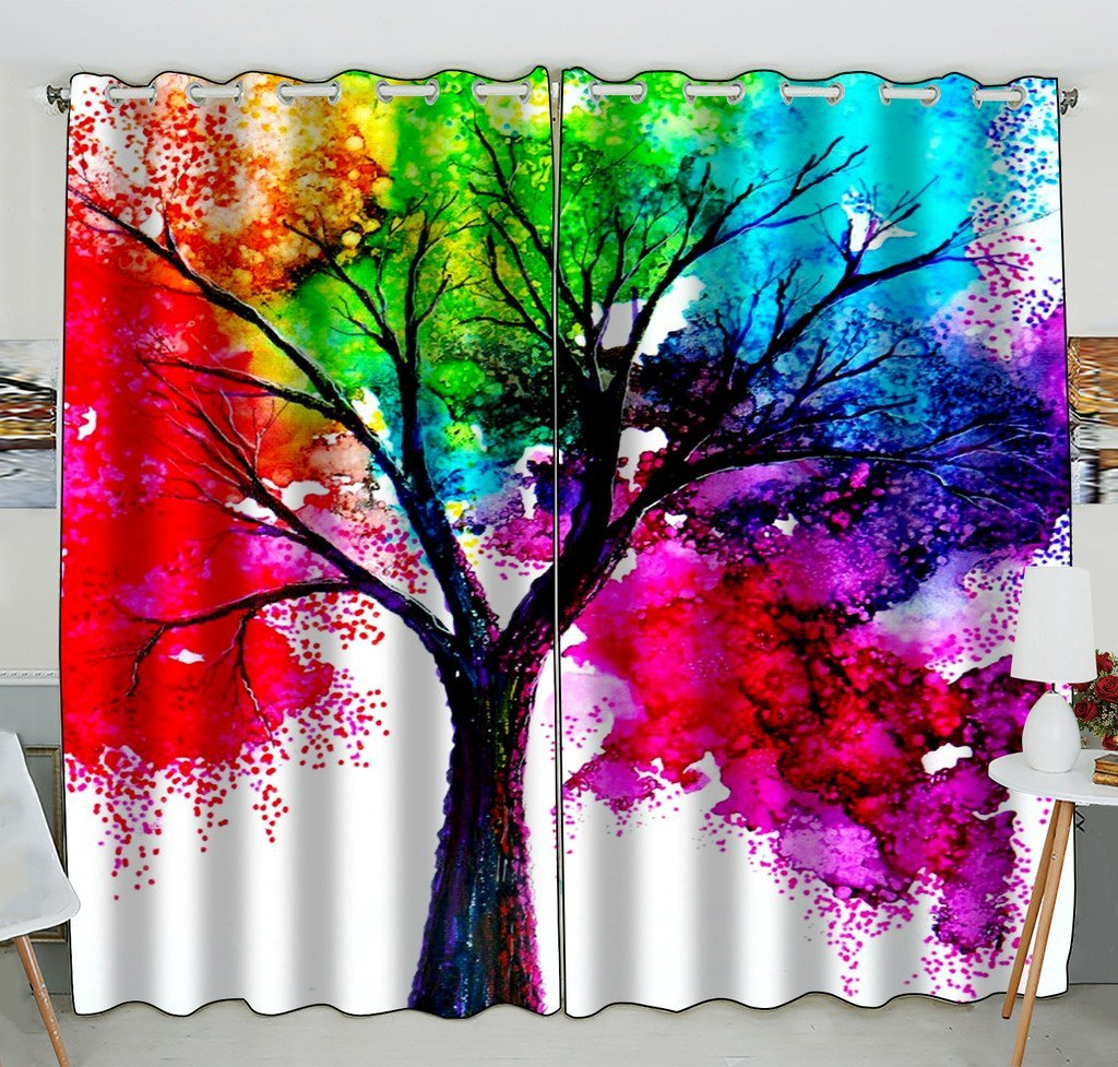 GCKG Autumn Tree Art Colorful Rainbow Tree Window Curtain Kitchen Curtain Window Drapes Panel for Living Room Bedroom Size 52(W)x84(H) inches (Two Piece) - image 4 de 4