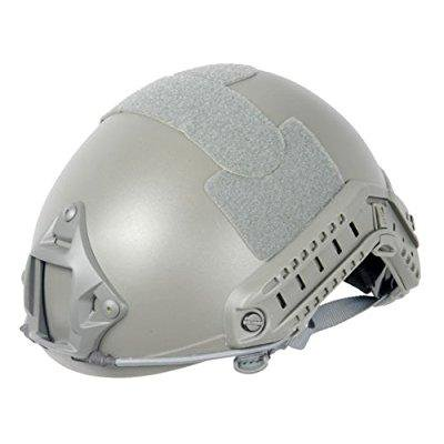 lancer tactical ca-726 fast mh type safety airsoft helmet w/ integrated nvg mount, 2 side rails, goggle swivel clips (Foregrip Integrated Rail)
