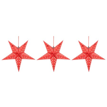 Festival Paper Star Shaped DIY Decor Christmas Tree Hanging Ornaments Red 3 Pcs (Paper Christmas Tree)