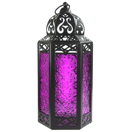 Large Moroccan Candle Lantern with Purple Glass ()