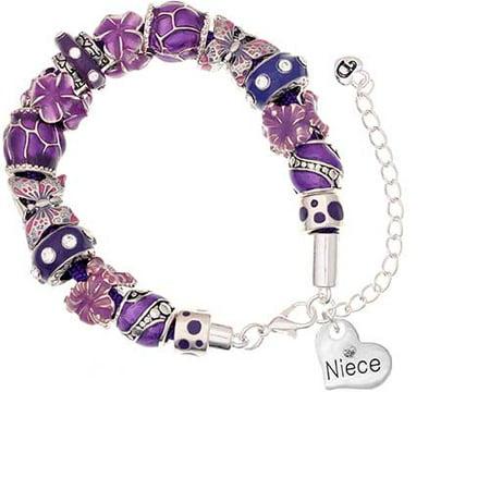 Silvertone Small Niece Heart Purple Butterfly Bead Bracelet