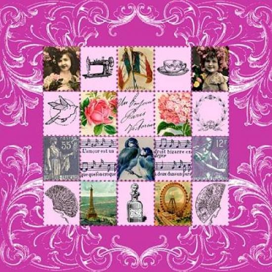 Vintage Stamps Pink Poster Print by Marion De Lauzun