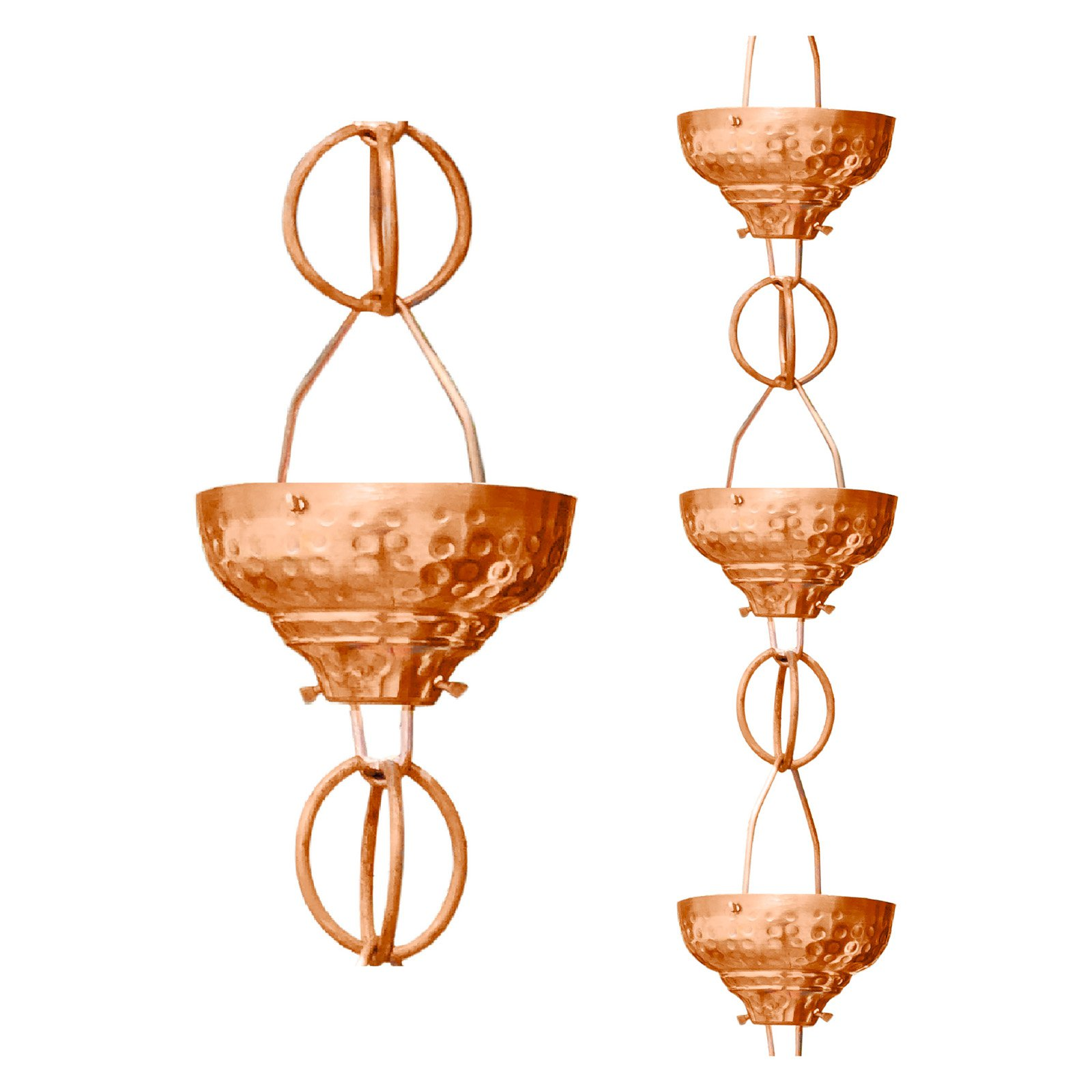 Monarch Hammered Eastern Cup 8.5-Foot Pure Copper Rain Chain