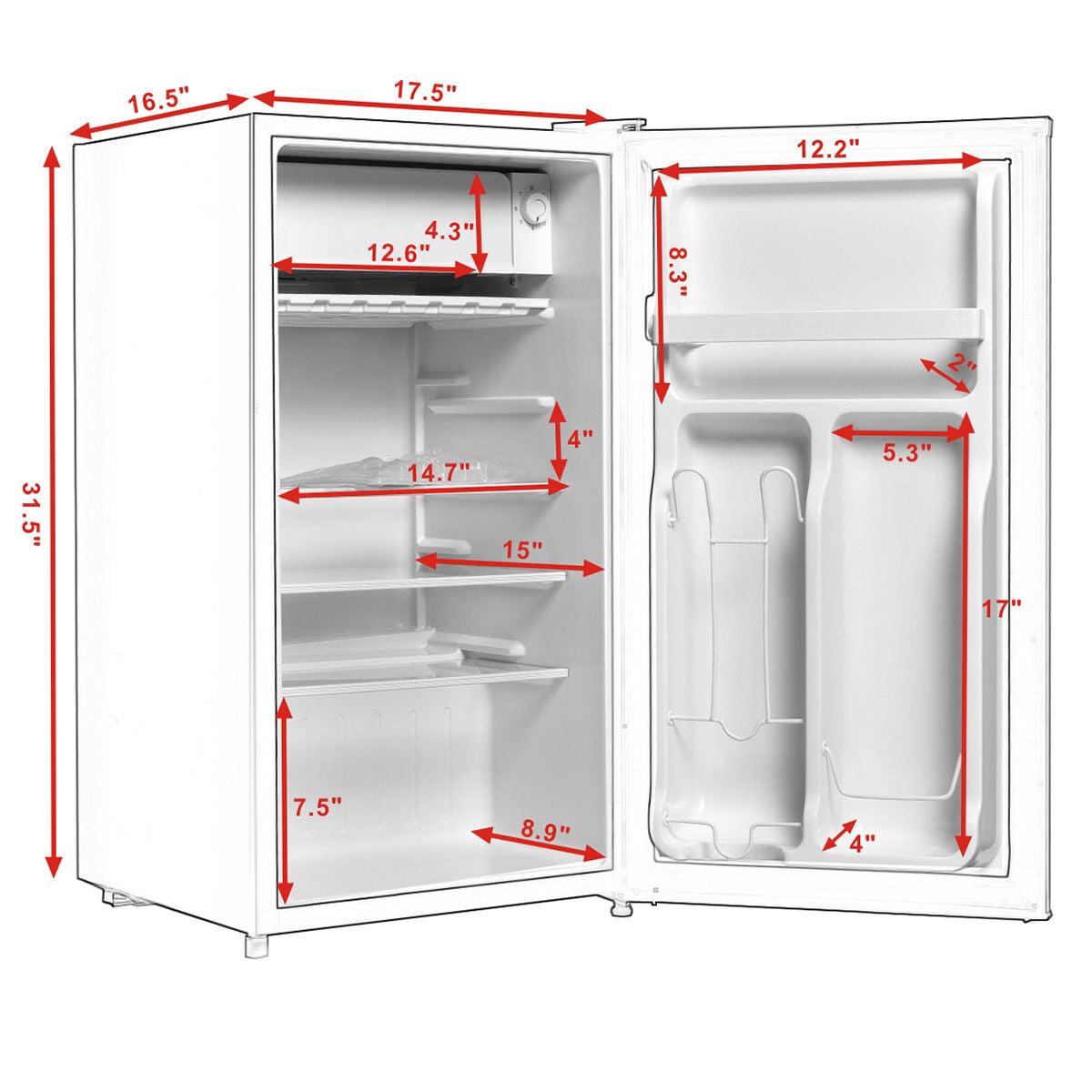 5156b3eaea4 Costway Stainless Steel Refrigerator Small Freezer Cooler Fridge Compact 3.2  cu ft. Unit - Walmart.com