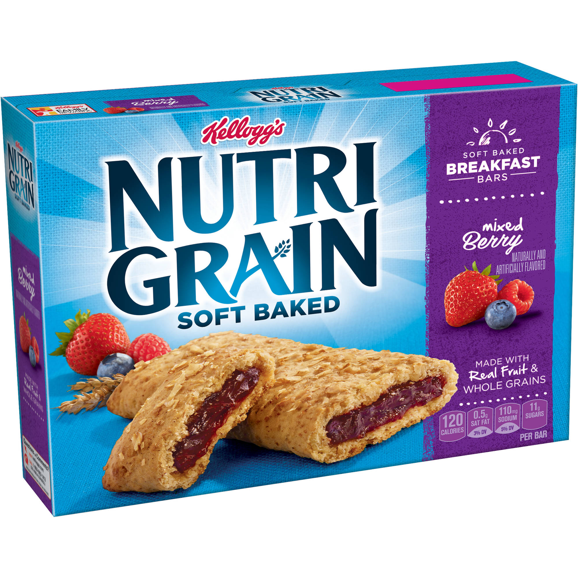 Kellogg's Nutri-Grain Soft Baked Mixed Berry Breakfast Bars, 1.3oz 8ct