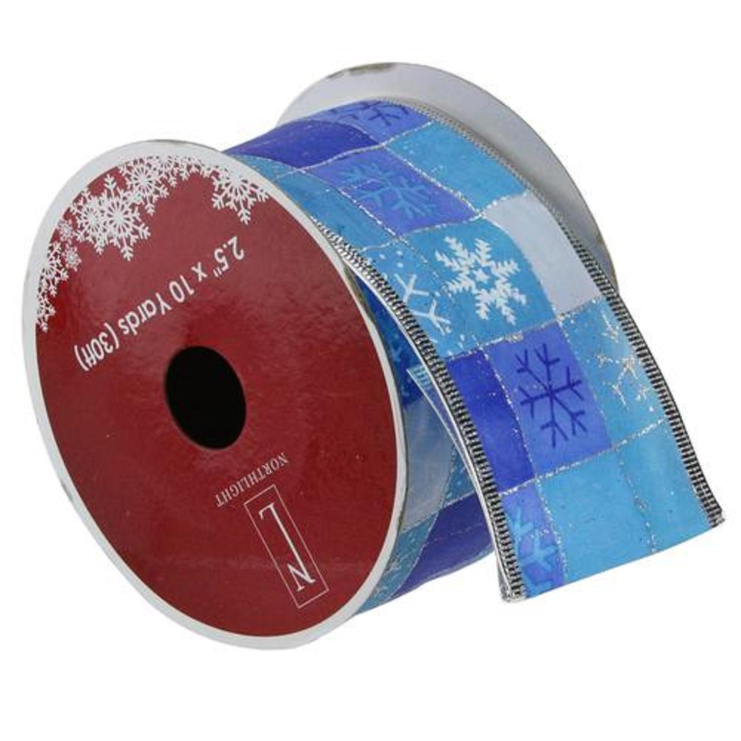 """Squares of Blue Snowflake Wired Christmas Craft Ribbon 2.5"""" x 10 Yards"""