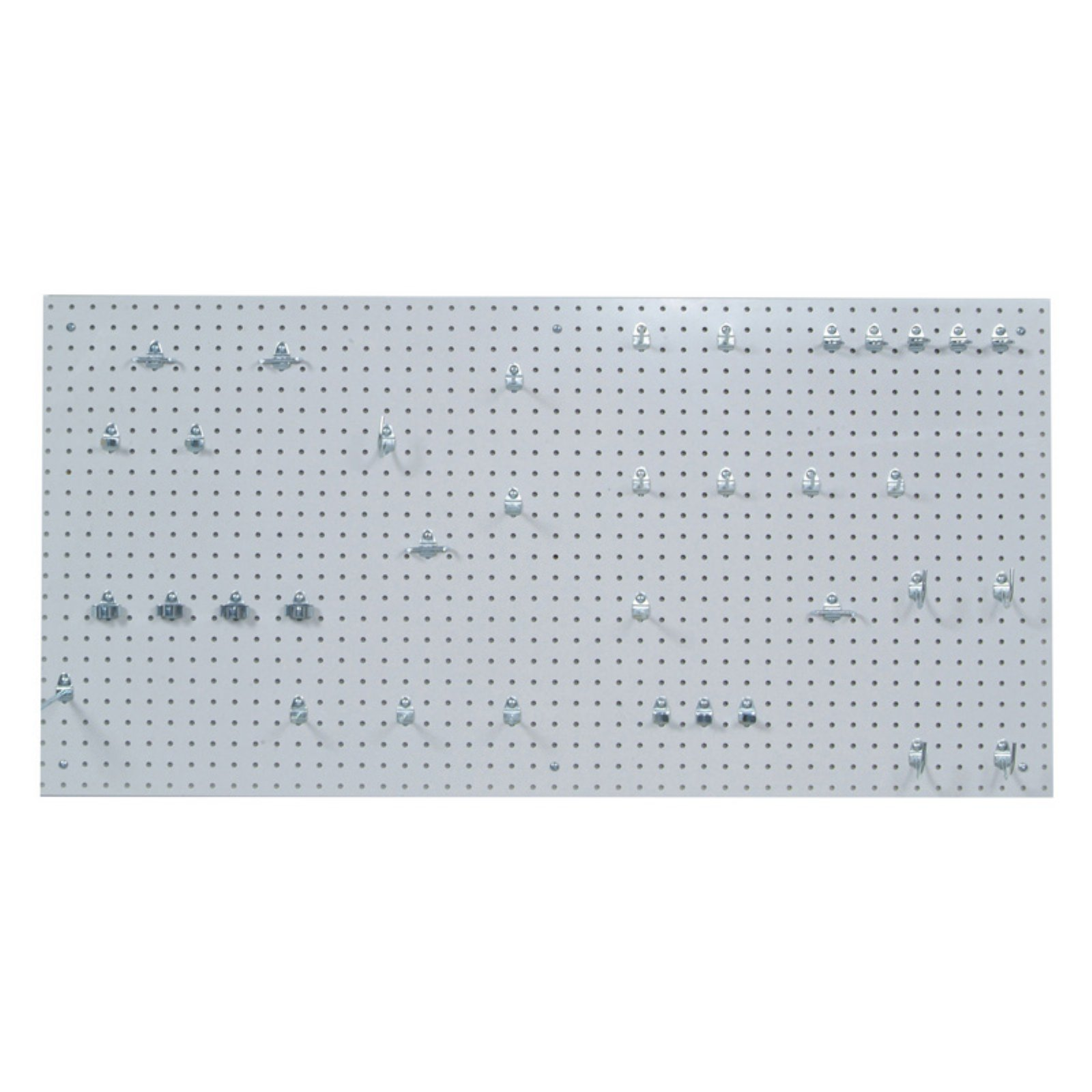 24 In. W x 48 In. H x 1/4 In. D White Polypropylene Pegboards with 36 pc. Locking Hook Assortment