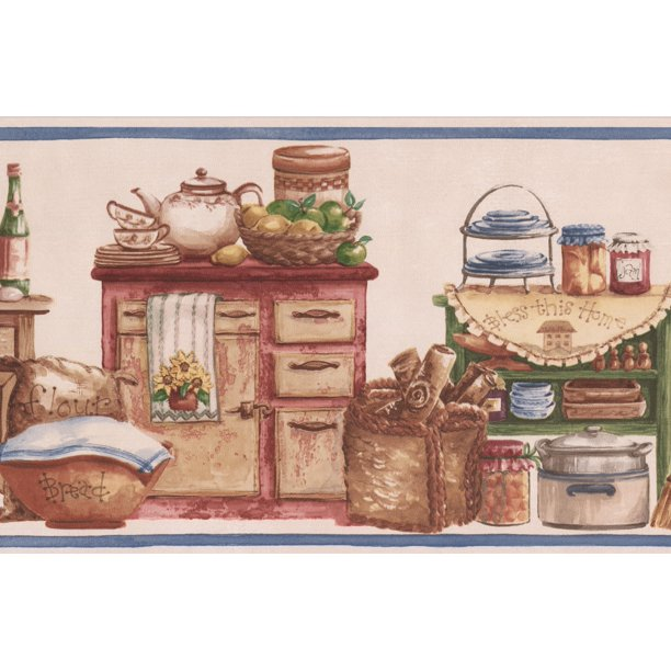 Vintage Kitchen Wooden Chests Food Jars Baskets Bowls Country