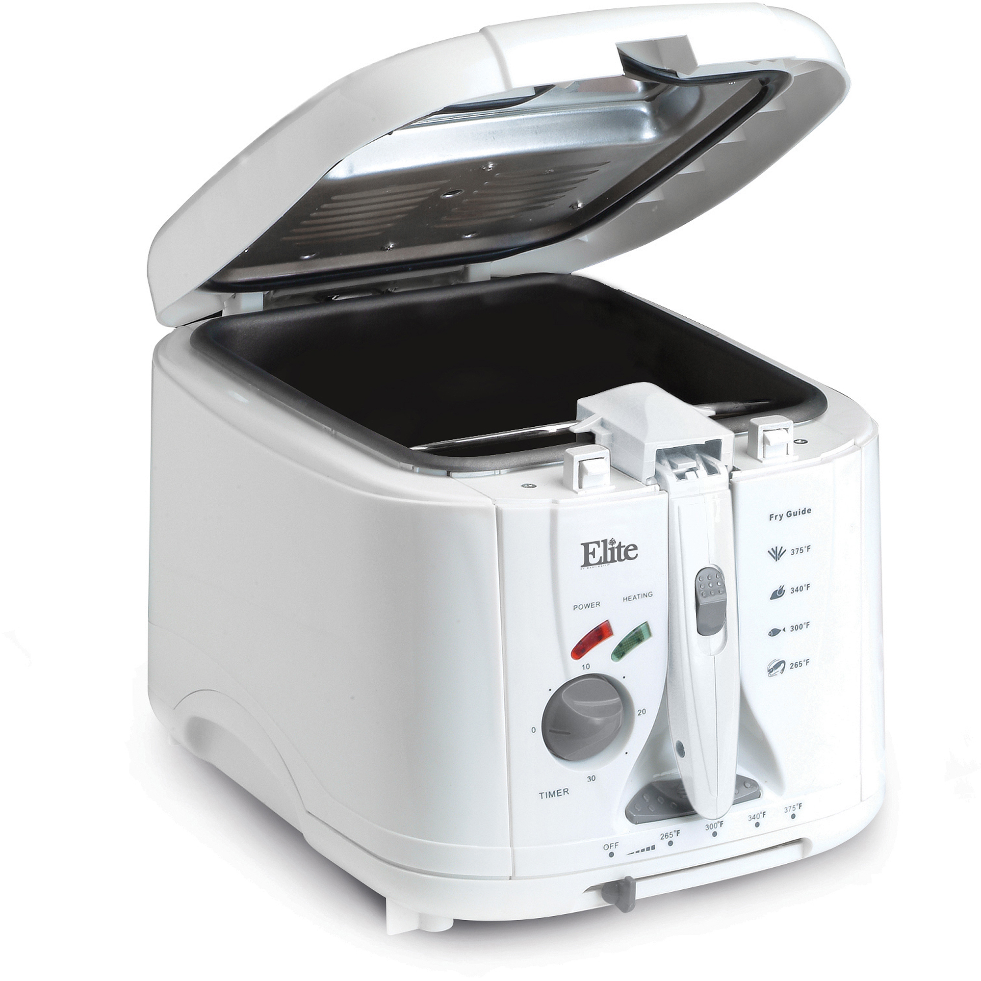 Elite Cuisine EDF-888XT 2-Quart Cool Touch Deep Fryer with Timer, White
