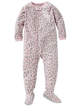 Carter's Little Girls' 1-piece Micro-fleece Pajamas Grey Pink Leopard Kitty 4 Kids