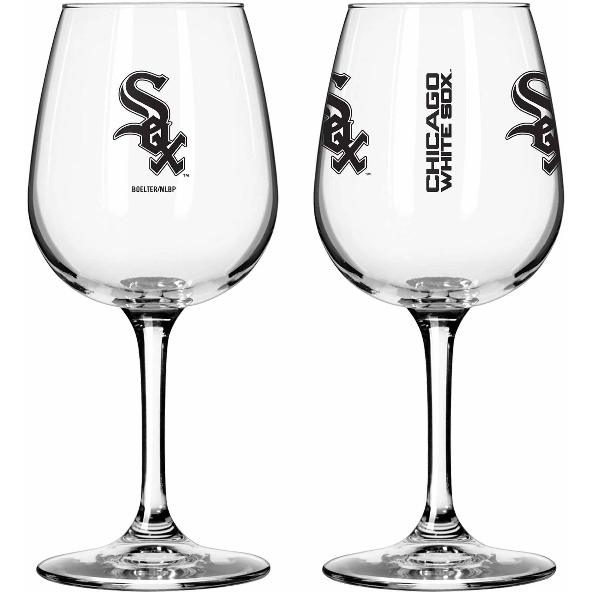 Boelter Brands MLB Set of Two 12 Ounce Wine Glass Set, Chicago White Sox