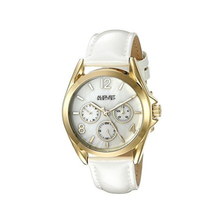 Women's AS8191YGW Yellow Gold Multifunction Crystal Accented Quartz Watch with White Mother of Pearl Dial and White