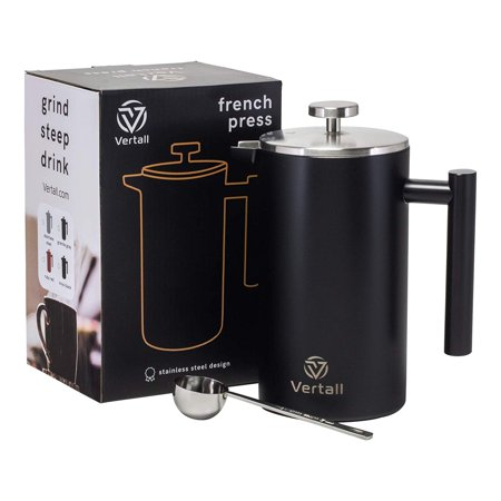 French Press Coffee Maker 34oz - Stainless Steel Double Wall Vacuum Insulated Rust-Free With Bonus Tablespoon Scoop by Vertall - Black