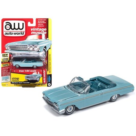 Auto World 1:64 Scale Turquoise 1962 Chevrolet Impala Open Convertible Diecast (1962 Chevy Ii Nova Convertible For Sale)