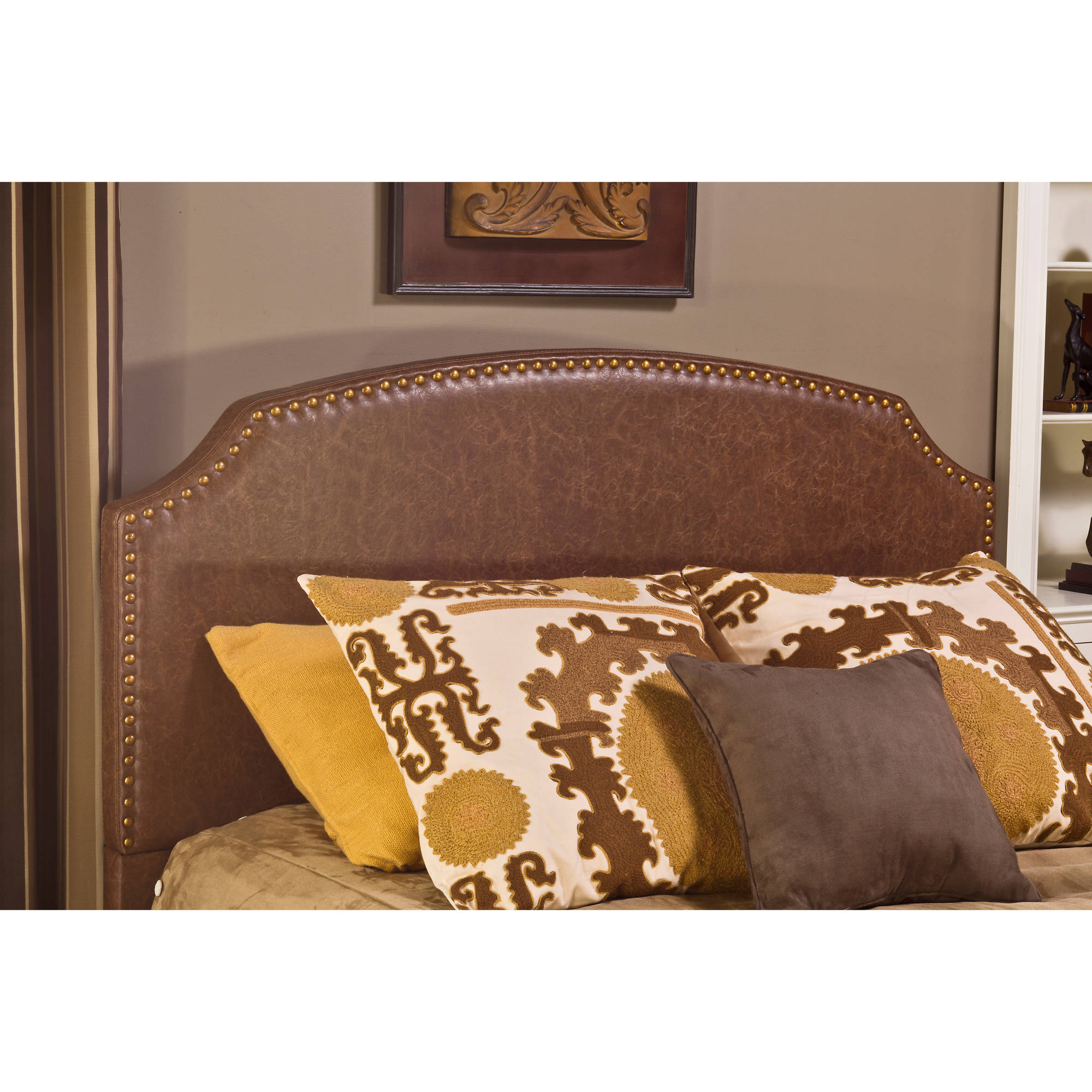 Hillsdale Furniture Durango Queen Headboard with Bedframe, Brown Faux Leather