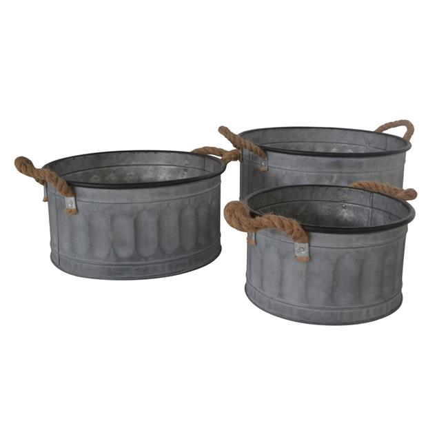 Cheungs 5080-3 Round Metal Storage Bucket with Rope Handle - Set of 3 - image 1 de 1