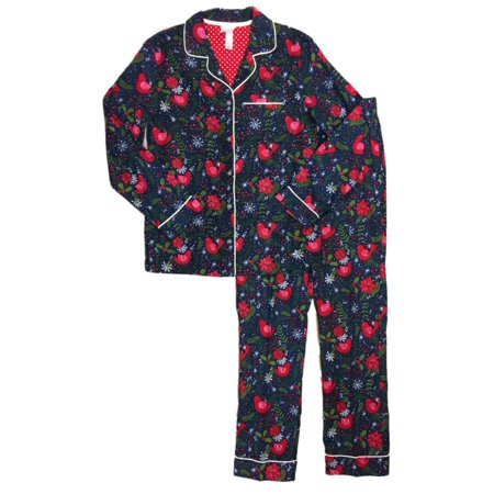 Womens Poinsettia & Bird Pajamas Holly Snowflakes Holiday Flannel Sleep Set XS