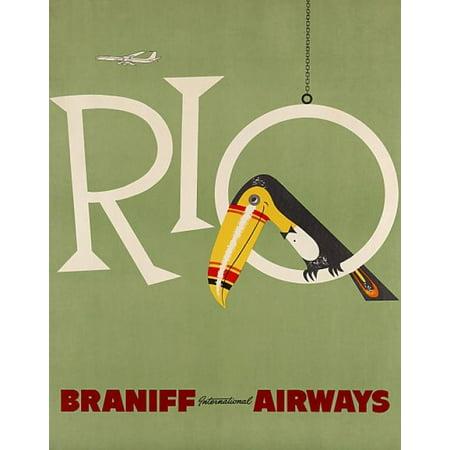 Rio de Janeiro Braniff Airways Canvas Art - (36 x 54)