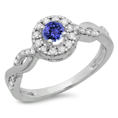 Dazzlingrock Collection 14K Round Tanzanite & White Diamond Ladies Swirl Bridal Halo Engagement Ring, White Gold, Size