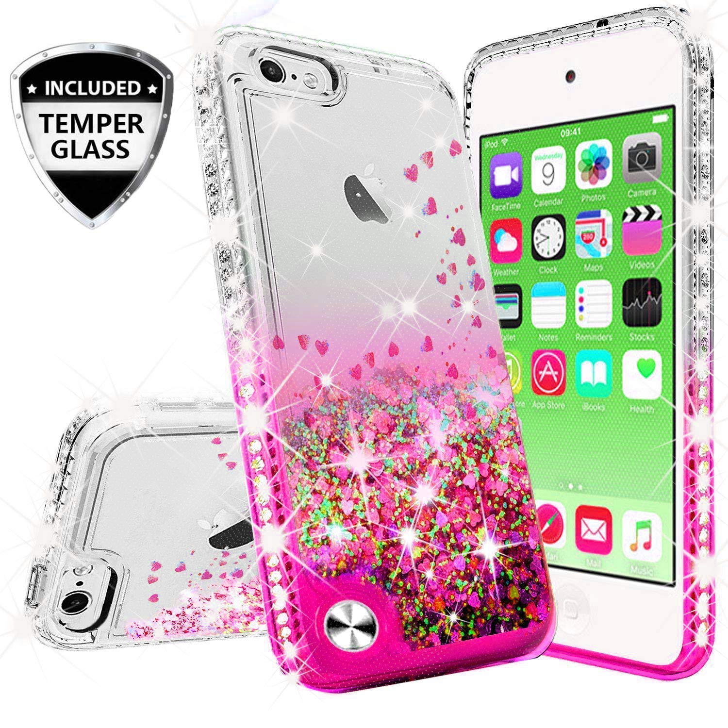 Compatible for Apple iPhone 8 Plus Case, iPhone 7 Plus Case, with [Temper Glass Screen Protector] SOGA Diamond Glitter Liquid Quicksand Cover Cute Girl Women Phone Case [Cear/Pink]