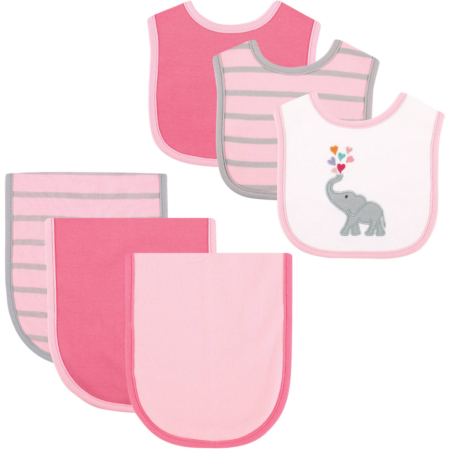 Hudson Baby Elephant Bib and Burp Cloth, 6pk