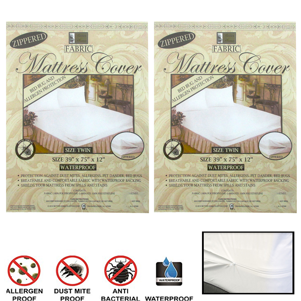2 Fabric Zippered Mattress Cover Twin Bed Bug Water Protector Pad Hypoallergenic