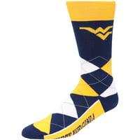 West Virginia Mountaineers For Bare Feet Team Argyle Crew Socks