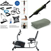 Sunny Health and Fitness Easy Adjustable Seat Recumbent Bike (SF-RB4616) Bundle with Sports Zippered Waist Bag, Workout Cooling Towel and 7-Piece Fitness Kit