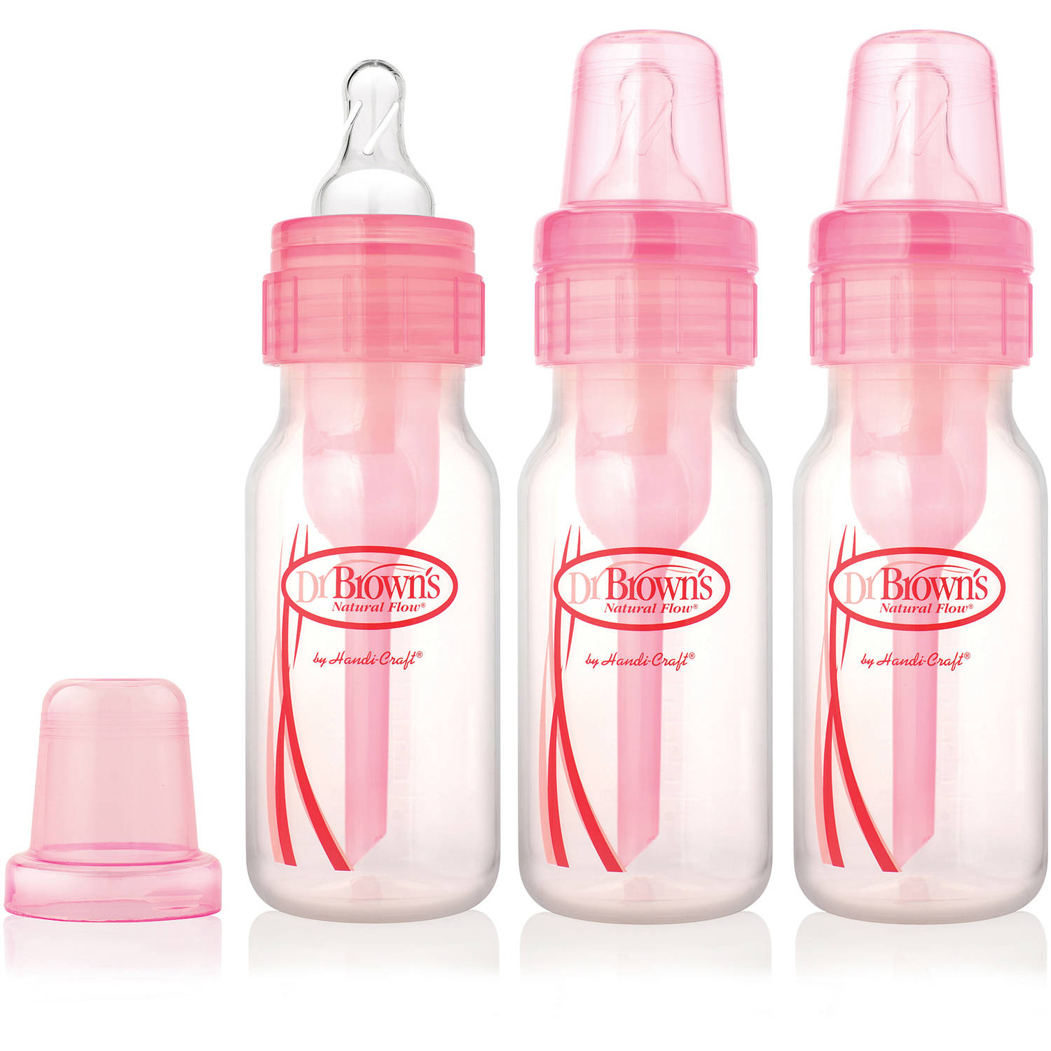 Dr. Brown's Natural Flow Baby Bottles, Pink, 3-Pack, BPA-Free (Choose Your Size)