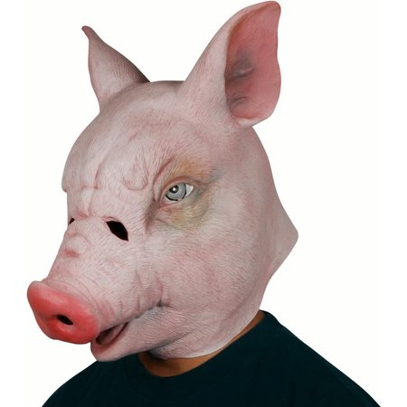 Star Power Realistic Pig Full Head Animal Mask, Pink, One Size - Star Head