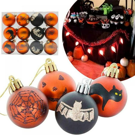ETOSHOPY 12 Pcs Halloween Hanging Balls, Halloween Pumpkin Bat Spider Web Tombstone Shatterproof Ball for Halloween Wreath Ornaments Christmas Tree Ornaments and Party Decoration