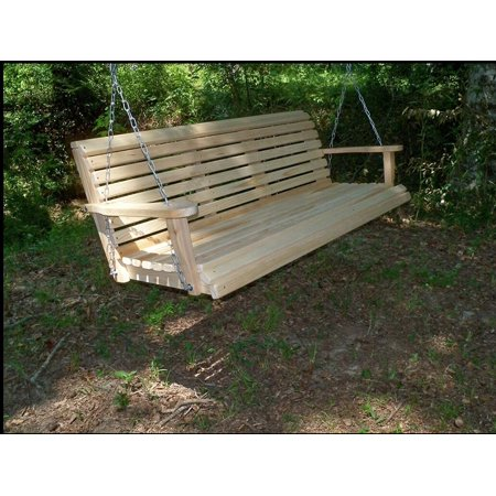 Home Garden Lawn Outdoor Backyard Patio 5 Ft Cypress Lumber Roll Back Porch Swing With Swing-mate Comfort -