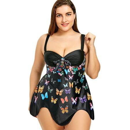 e6b1cacfa6db2 NEXTMIA - Ladies Swimwear Plus Size Butterfly Print Flowy Set Bathing Suits  Tankini - Walmart.com