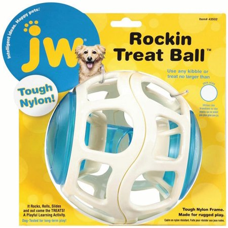 Jw-Dog/cat-Rockin Treat Ball For Dog- White/blue
