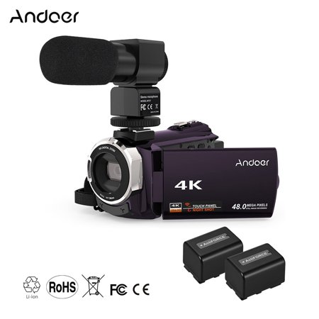 Digital 3 Chip (Andoer 4K 1080P 48MP WiFi Digital Video Camera Camcorder Recorder with 2pcs Rechargeable Batteries + External Microphone Novatek 96660 Chip 3inch Capacitive Touchscreen IR Infrared Night Sight)