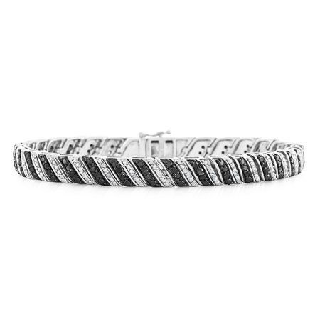 "1.00 Carat Enhanced Black & Natural Diamond Bracelet in Sterling Silver - 7.5"""