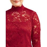 5ffc5c21c7eae Lifestyle Attitudes - Women's Plus Size Mock Neck Long Sleeve Lace ...