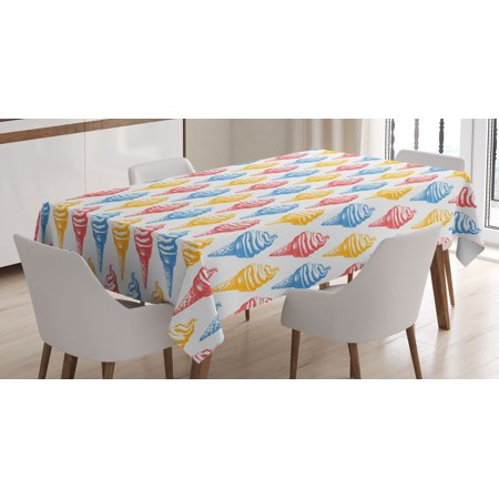 Food Decor Tablecloth, Ice Cream Cones 50s Time Colored Drawings with Abstract Retro like Design Image, Rectangular Table Cover for Dining Room Kitchen, 60 X 84 Inches, Multicolor, by Ambesonne - 50s Table