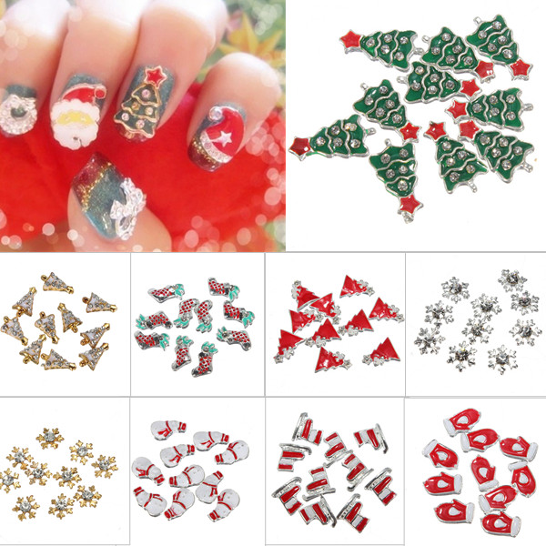10Pc 3D Alloy Rhinestone Christmas Nail Art Phone Sticker Tips DIY Decoration US