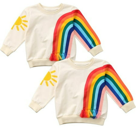 Baby Girls Kids Long Sleeve Clothes Sun Rainbow Cotton T-Shirt Blouse Sweatshirt 1-6Y Food Kids Sweatshirt