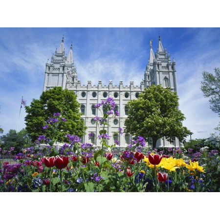 View of Lds Temple with Flowers in Foreground, Salt Lake City, Utah, USA Print Wall Art By Scott T. Smith