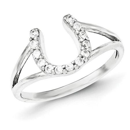 925 Sterling Silver Polished CZ Horseshoe Ring Size 6