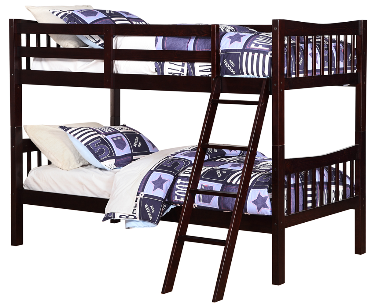 Angel Line Freemont Twin Over Twin Convertible Wood Bunk Bed, Espresso by Supplier Generic